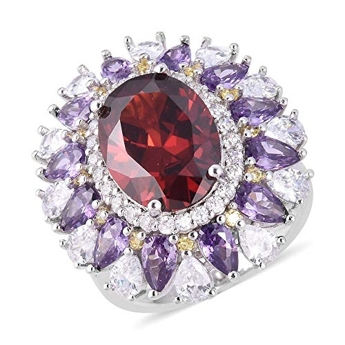 ELANZA Garnet Colour Cz Flower Ring for Women in 925 Sterling Silver with Purple White Cubic Zirconia, Yellow Cubic Zirconia Size M, 13.5 Ct