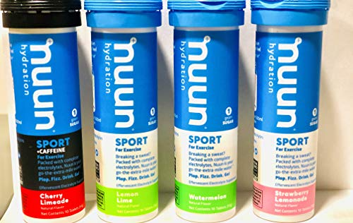 NUUN Hydration New Mixed 4 New Flavors for Electrolyte Hydration Tablets (Cherry Limeade - Active Watermelon - Active Lemon Lime - Active Strawberry Lemonade)