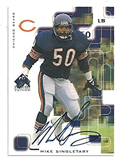 Mike Singletary Autographed Football Card - 1999 Upper Deck SP Signature Edition Football Card #50 (Chicago Bears) Free Shipping
