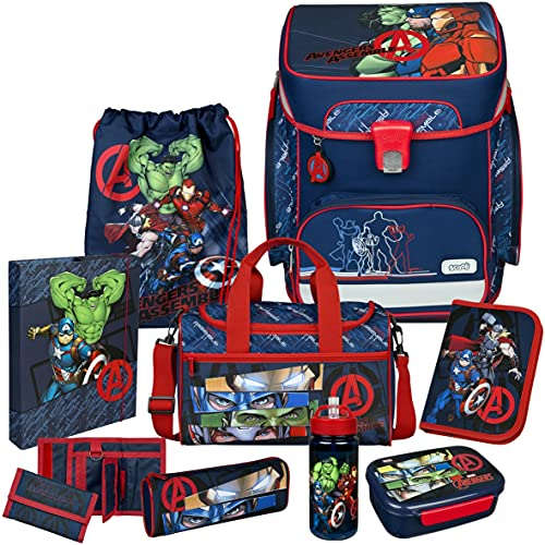 Avengers - SCOOLI Undercover EasyFit Schulranzen-Set 10tlg. mit Sporttasche, BROTDOSE und TRINKFLASCHE - HEFTBOX A4 und GELDBÖRSE GRATIS!