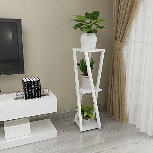LLLXUHA Art de Fer métal 3 Couches Support de Fleurs, Europe du Nord intérieur Multifonction Succulentes Cadre décoratif, Type de Plancher Stand de Plante,25 * 25 * 100cm, Blanc