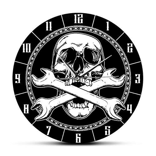 Reloj de pared Mecánico de la muerte Llaves de calavera y cruzadas Reloj de pared impreso decorativo Herramientas de reparación de automóviles Decoración para garaje Hombre Cueva Reloj de pared