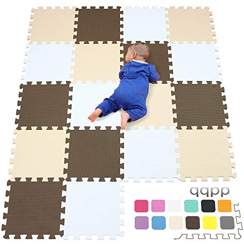 qqpp Tapis de Puzzles – Tapis de Sol Enfant et Bébé en Mousse - 18 Dalles Colorées à Imbriquer 30 x 30 cm - Idéal pour l'Éveil de l'enfant QQCDW101106110G301018
