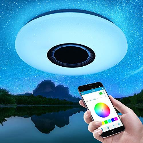 Youool Smart Music LED Luces de techo 36CM 36W APP Control Bluetooth LED Lámpara de techo RGB Regulable y luces de techo que cambian de color para cocina Baño Comedor
