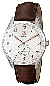 TAG Heuer Men's WAS2112.FC6181 Carrera Silver Dial Brown Leather Strap Watch image