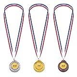 Omenluck 3 piezas oro plateado bronce premios estilo metal ganador medallas...
