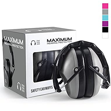 Pro For Sho 34dB Shooting Ear Protection - Special Designed Ear Muffs Lighter Weight & Maximum Hearing Protection - Standard Size, Grey