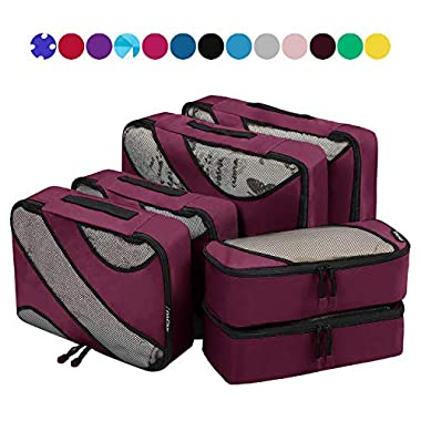6 Set Packing Cubes,3 Various Sizes Travel Luggage Packing Organizers (Burgundy)