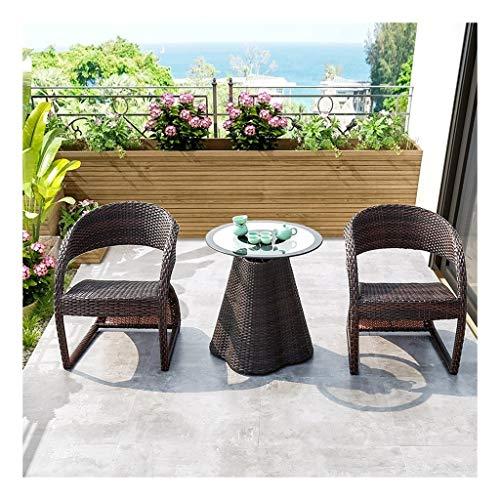 DYYD Juegos de Muebles de jardín Muebles al Aire Libre Rattan Muebles de jardín Conjunto de Cristal Mesa de Centro de conversación for jardín al Aire Libre Junto a la Piscina (Color : Black-Brown)