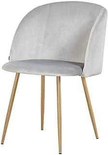 ZONS – Lote de 2 sillas escandinavas de terciopelo gris y patas de metal efecto madera, talla XL