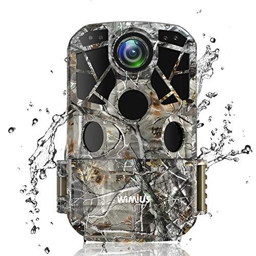 WiMiUS H8 WiFi Caméra de Chasse, 24MP 1296P HD Caméra de Surveillance Vitesse de Déclenchement 0.3s Grand Angle 120°Mouvement Vision Nocturne Étanche IP66 avec 2.0'' LCD