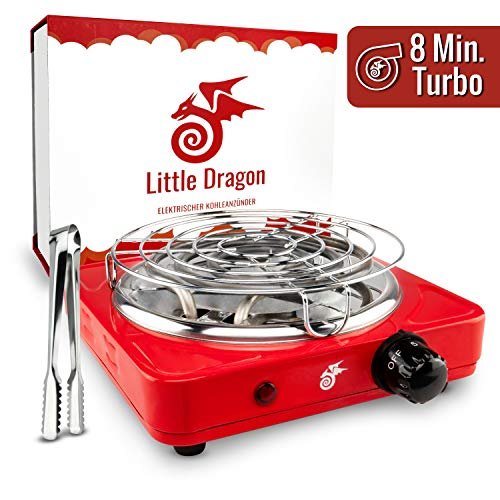 Little Dragon® Shisha Kohleanzünder - Die Lösung für schnelles & sicheres Anzünden Deiner Shisha Kohle - Inkl. Kohlegitter, Zange - Premium Power Kohle Anzünder 1000W - Kohlegrill Shisha
