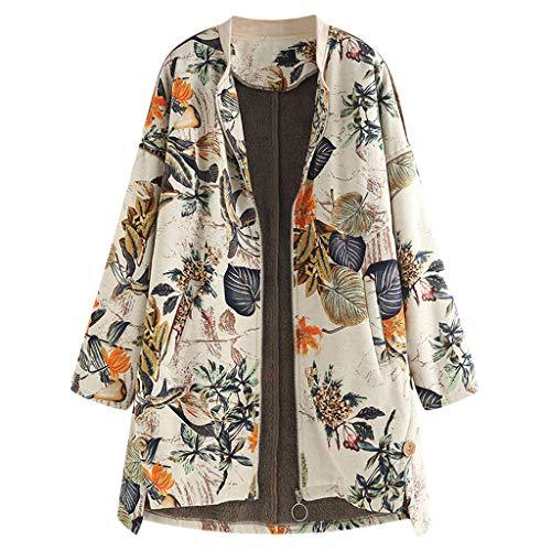 Showsing-Women Ropa de mujer Vintage Outwear, Mujer Invierno Cálido Outwear, Retro Floral Estampado Manga Larga Abrigos...