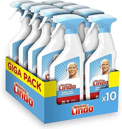 Mastro Lindo Spray Detergente Igienizzante Candeggina 10 Pezzi, Maxi Formato 10 x 500 ML
