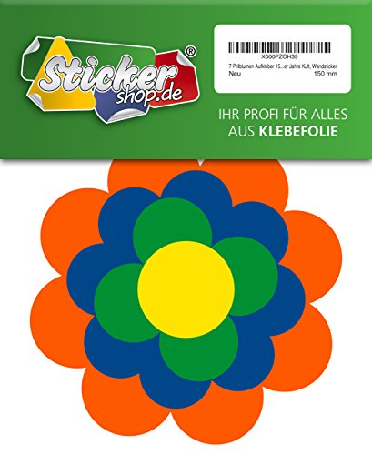 7 Prilblumen Aufkleber 150 mm, Retro Style 70er Jahre Kult, Wandsticker