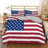 zpangg Juego de Cama con Estampado de Bandera Estadounidense en 3D Funda nórdica geométrica tamaño King Textiles para el hogar Ropa de Cama Colcha de poliéster