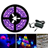UV LED Strip Schwarzlicht Streifen Set, Band Leiste SMD 2835 UV Licht Lichterkette Lichtleiste mit Netzteil, lila, Deko Party, 5M IP20