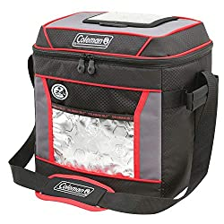 This product photo shows a Coleman 24-hour 30-can soft cooler.