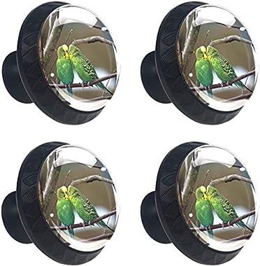 """4 Pack Round Kitchen Cabinet Knobs Pulls (1-37/100"""" Diameter) - Two Budgerigars Pair Green Bird Tree Branch - Dresser Drawer/Door Hardware - DIY Pattern Customization"""