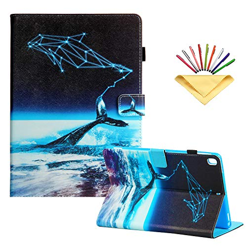 Uliking for New Apple iPad 8th Generation (2020)/iPad 7th Gen (2019) 10.2 inch Case - with Pencil Holder [Auto Sleep/Wake] Folio Stand PU Leather Magnetic Smart Wallet Cover,Ocean Whale Constellation