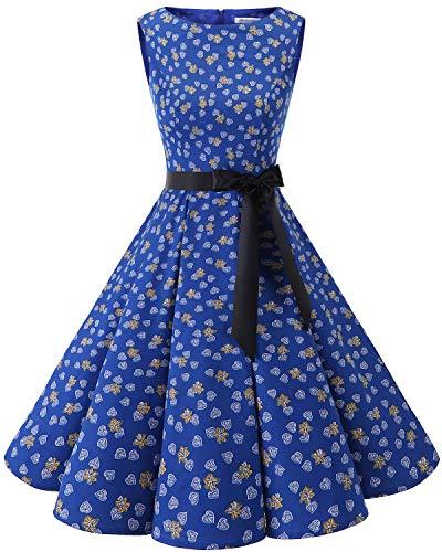 Bbonlinedress 50s Retro Schwingen Vintage Rockabilly Kleid Cocktail Faltenrock Royalblue Leaves M