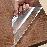 90cm200cm テーブルマット テーブルクロス 透明ビニールシート 厚さ6mil 光沢 透明フィルム テーブルフィルム 耐熱 防水 デスクマット 汚れ防止 家具保護フィルム