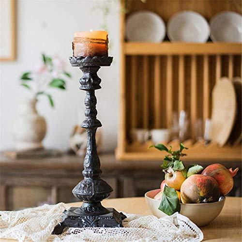 Tägliche Ausrüstung Kerzenhalter Kerzenhalter aus Gusseisen Esstisch Abendessen Requisiten Romantische Lampe Retro Garden Hurricane Kerzenhalter (Farbe: A Größe: Freie Größe)
