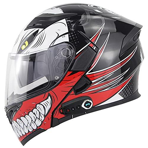 Casco De Motocicleta Abatible Con Bluetooth, Aprobado Por DOT Ligero Antivaho De Doble Visera Integral Para Motocicletapara Bicicleta De Calle Carreras Motocross ATV G,M