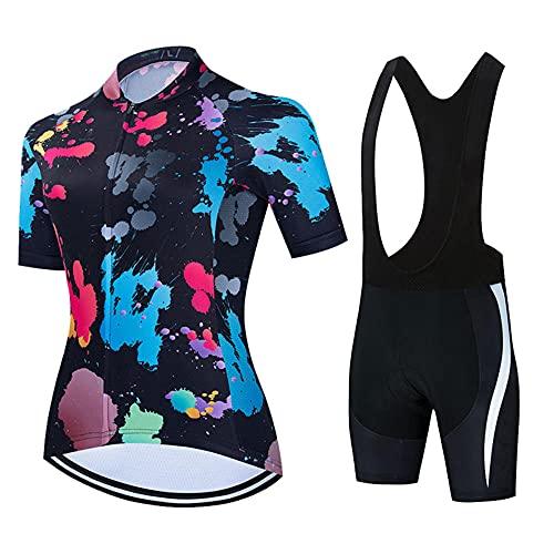 HXTSWGS Mujer Maillot Ciclismo, Shorts de Ciclismo para Mujer con 3 Bolsillos Traseros Elásticos, Ropa de Ciclismo MTB para Ciclista-A01_3XL