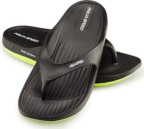 Aqua Speed Herren Badesandalen | Zehentrenner rutschfest | Schwarze Duschsandalen Männer | rutschfeste Sandalen Duschen | Mens Pool Slide | Sandals | Baden | Gr. 42, Schwarz | Alcano