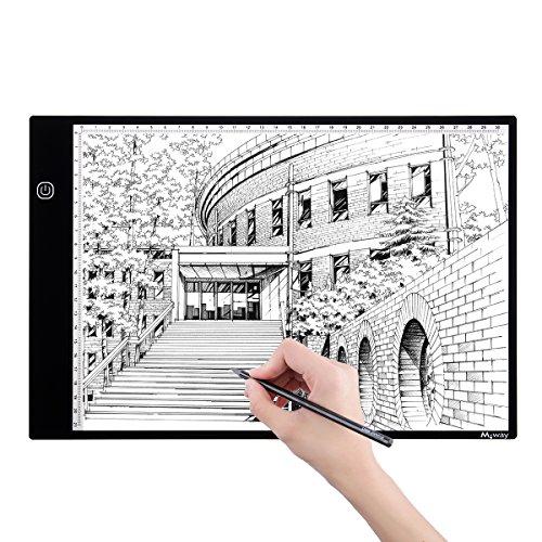 LED Copy Board, M.Way Super Thin LED Drawing Copy Tracing Caja de luz Track Light con brillo ajustable Tattoo Sketch Architecture Caligrafía manualidades para artistas, Dibujo, Sketching A4