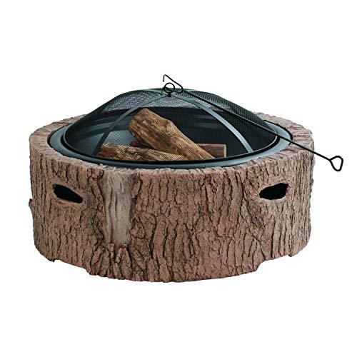 Martha Stewart MTS-FP35-FB 35' Diameter Cast Stone Base, Wood Burning Fire Pit, Faux Bois