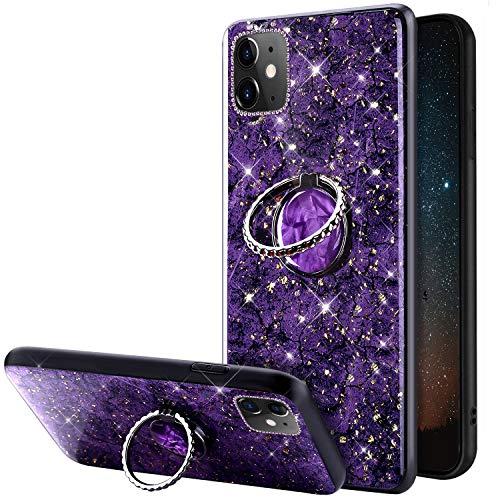 JAWSEU Glitter Case Compatibel met iPhone 11, Bling Diamonds Zachte Siliconen TPU Gel Rubber Telefoon Case met Ring Stand Houder Sparkle Glanzend Marmer Patroon Beschermhoes voor iPhone 11, Paars