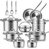 Duxtop Professional Stainless Steel Pots and Pans Set, 17PC Induction Cookware Set, Impact-bonded...