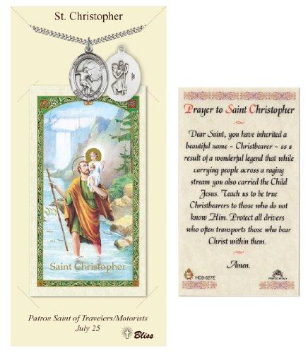 Carte de prière de Saint-Christophe et médaille pour joueurs