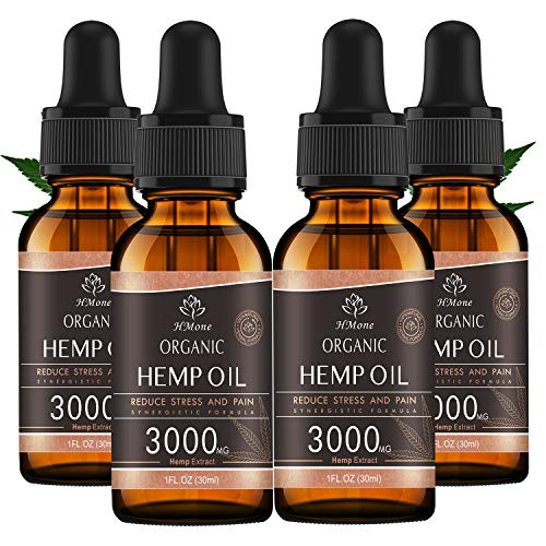 (4 Pack) Organic Hemp Oil 3000mg - for Anxiety & Stress Relief - Better Sleep - 100% Natural, Vegan, Non-GMO