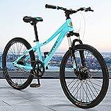 Bicicleta de montaña, Bicicleta De Montaña De 24 Pulgadas, Marco De Aleación De Aluminio De La Bicicleta De Las Mujeres Doble Amortiguador De Amortiguador Bicicleta De Carretera De La Bici(Color:Azul)