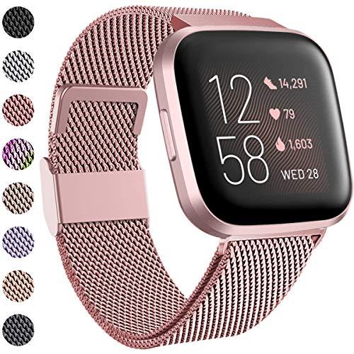 Funbiz Compatible con Fitbit Versa Correa/Fitbit Versa 2 Correa, Correa de Acero Inoxidable Correa de Metal con Cerradura para Fitbit Versa/Versa Lite, Pequeño, Oro Rosa
