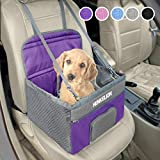 Henkelion Small Dog Car Seat, Dog Booster Seat for Car Front Seat, Pet Booster Car Seat for Small Dogs Medium Dogs Within 30 lbs, Reinforced Dog Car Booster Seat Harness with Seat Belt - Purple
