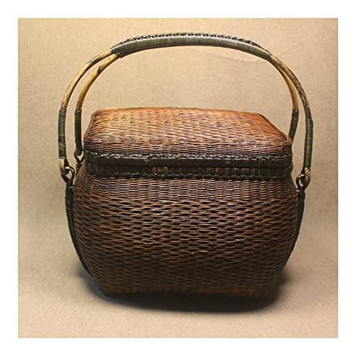 GOUDAN Bambú Tejido Bolso de té de Mujer Juego de té de Almacenamiento Bambú Azul niño Viaje Juego de té Cesta con Compartimentos Caja de Almacenamiento de artesanías de bambú