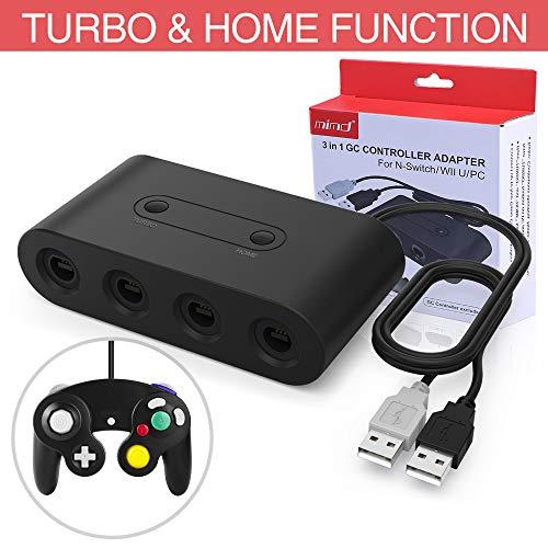 HEYSTOP Adapter für Gamecube Controller, NGC Controller Adapter für Switch Wii U PC,Turbo und Home Tasten, USB Plug und Play, 4 Port Schwarz, Aktualisierte Version