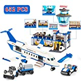 QLT QIAOLETONG City Sets Airplane Station Building Kits,STEM Airport Toys for Kids, with Helicopter /Airplane Terminal/ Passenger / Lorry Truck / Car, Best Gift for 6-12 Boys and Girls(652 Pieces)