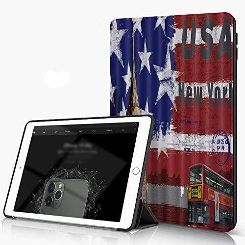 She Charm Funda para iPad 9.7 para iPad Pro 9.7 Pulgadas 2016,Sello de autobús de Dos Pisos con Bandera Estadounidense,Incluye Soporte magnético y Funda para Dormir/Despertar