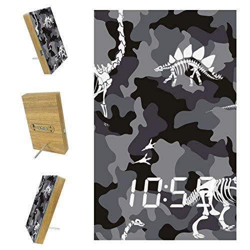 nakw88 Reloj despertador digital con diseño de dinosaurio, diseño de camuflaje militar, con puerto USB para cargar, oficina y decoración del hogar