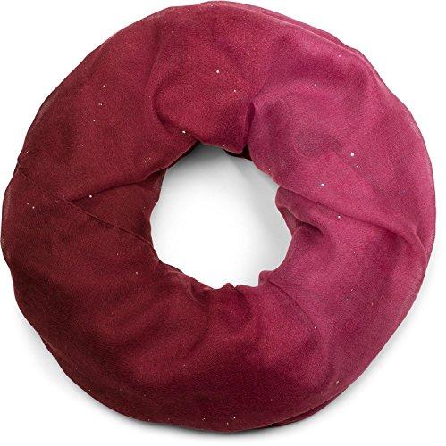 styleBREAKER edler glitzer Loop Schlauchschal mit Farbverlauf, Glitzerschal, Pailletten, Schal, Tuch, Damen 01017033, Farbe:Bordeaux-Pink