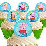 Toppershack 12 x Vorgeschnittene und Essbare Peppa Pig Peppa Kuchen Topper (Tortenaufleger, Bedruckte Oblaten, Oblatenaufleger) -