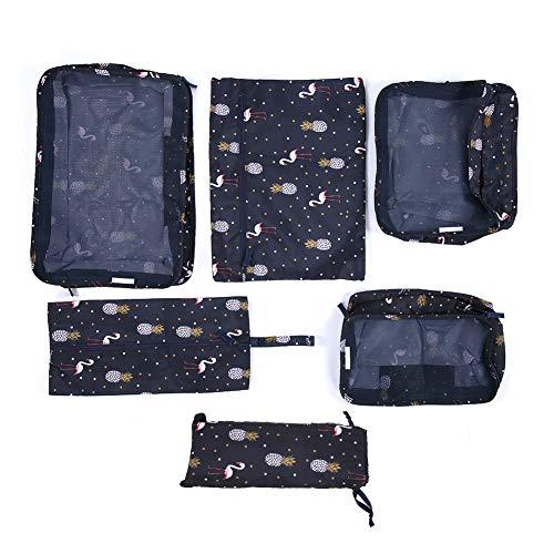 Omabeta 6 unids/Set portátil Estampado de Tela Oxford Transpirable Bolsa de Viaje Bolsa de Equipaje Varios tamaños Bolsa de Almacenamiento de Ropa