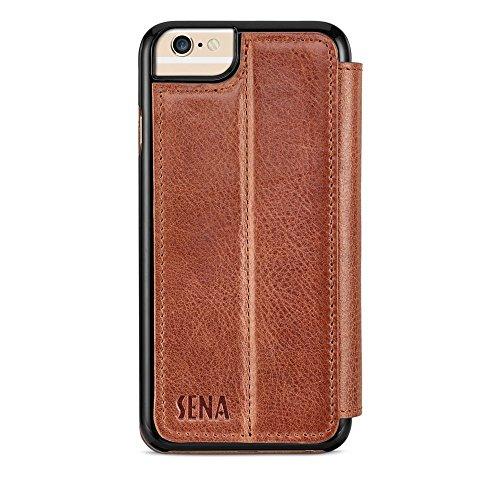 Sena Cases Echtleder Wallet Book iPhone 8/7und iPhone 6/6S, Heritage Cognac