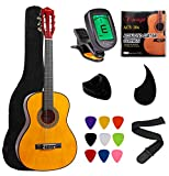 """Vizcaya Kids Beginner 31"""" Classical Acoustic Guitar 1/4 Size Nylon Strings 30' Classical Guitar With Gig Bag, Strap, Picks, Pick Holder, Extra Strings, Electronic Tuner for Students, Adults-Natural"""