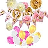 Kindergeburtstag Deko,Geburtstag Dekoration Set,Pomisty Happy Birthday Dekoration 40 Stücks mit 9 Tissue Papier Pom Poms + 30 Große Geperlte Ballons + 1 Happy Birthday Wimpelgirlande für Mädchen und Jungen Jeden Alters